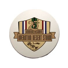 This great Desert Storm 25th Anniversary Sandstone Coaster is a must-have. Full color design custom baked into the stone for long lasting color; felt pads to prevent table scratching; strong, durable & absorbent for all types of drink ware. Part of the VetFriends Exclusive 25th Anniversary Operation Desert Storm Collection.