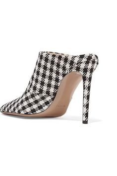 Altuzarra - Davidson Houndstooth Canvas Mules - Black - IT39.5