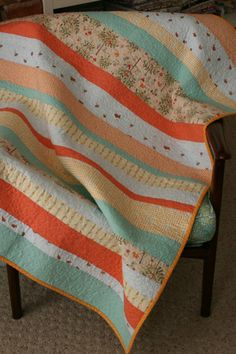 tangerine and blue splash baby or lap quilt