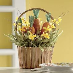 Sporting a classic spring and Easter look, this Carrot Basket features faux carrots and grass in a lightweight wire-framed basket. Makes for a cute table decoration that's just waiting for the Easter bunny. Shop now!