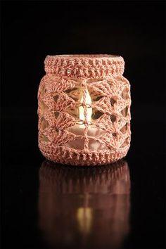 Häkelanleitung Teelichtbezug - New Ideas Crochet Wool, Crochet Doilies, Free Crochet, Crochet Jar Covers, Crochet Decoration, Jar Lights, Crochet Accessories, Digital Pattern, Crochet Projects
