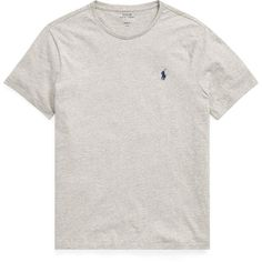 Polo Ralph Lauren Custom Slim Fit Cotton T-Shirt ($23) ❤ liked on Polyvore featuring men's fashion, men's clothing, men's shirts, men's t-shirts, mens slim fit short sleeve shirts, mens embroidered shirts, mens short sleeve t shirts, ralph lauren mens shirts and mens crew neck t shirts