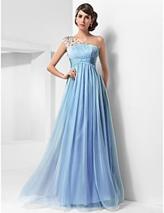 A-line One Shoulder Floor-length Chiffon And Tulle Evening/... – USD $ 89.99