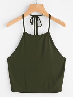 Shop Self Tie Halter Top online. SheIn offers Self Tie Halter Top & more to fit your fashionable needs. Cami Tops, Halter Tops, Cute Crop Tops, Cami Crop Top, Camisole Top, Halter Top Shirts, Halter Neck, Outfits For Teens, Summer Outfits