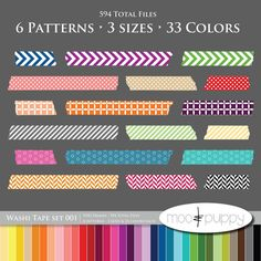 Ultimate Washi Tape Collection -- Rainbow Washi Tape Set 001 -- INSTANT DOWNLOAD