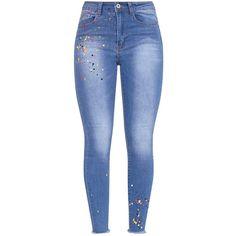 Tayae Blue Multi Paint Splatter Skinny Jean (750 MXN) ❤ liked on Polyvore featuring jeans, denim skinny jeans, paint splatter skinny jeans, skinny fit jeans, cut skinny jeans and blue skinny jeans