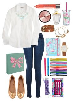 """First week of school contest set 5"" by lbkatie17 on Polyvore featuring J.Crew, Charlotte Russe, Tory Burch, Avery, Vera Bradley, Sharpie, Lilly Pulitzer, Paper Mate, Kate Spade and Alex and Ani"