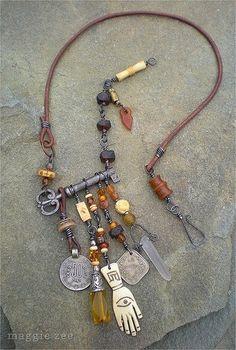 Maggie Zee Prosperity Amulet Necklace - Great use of old key Key Jewelry, Metal Jewelry, Boho Jewelry, Jewelry Crafts, Jewelry Art, Beaded Jewelry, Jewelery, Vintage Jewelry, Jewelry Necklaces