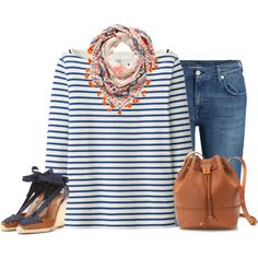 Blue and brown by lenaick on Polyvore featuring moda, Uniqlo, 7 For All Mankind, Aquazzura and J.Crew