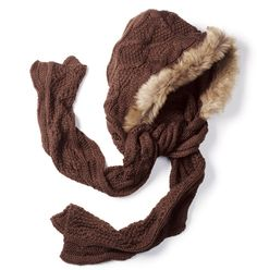 Cozy brown winter hat and scarf