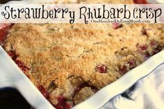 Have you started harvesting rhubarb yet this season? Well if you have a couple of extra stalks of rhubarb {well, okay, 4 to be exact} you'll want to gather up some strawberries too and make this strawberry rhubarb crisp. I brought one of these to a pot luck dessert last year and it was gone …