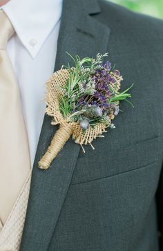 Lavender and Burlap Rustic Boutonniere