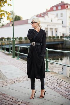 maxi cardigan - wide belt - street style - fall fashion - ellen claesson