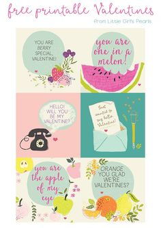 Free Fruit and Fun Printable Classroom Valentine Cards - they're also really sweet for your Galintine! ♥ Little Girl's Pearls