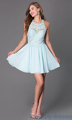 Shop high neck beaded prom dresses at SimplyDresses. Halter top short prom dresses and short sleeveless dresses with lace bodice for homecoming.