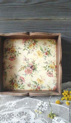 Купить Поднос Полевые цветы в стиле кантри,винтаж для кухни и дачи - поднос для кухни