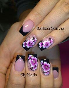 Purple Nail Designs, New Nail Designs, Nail Polish Designs, Coral Gel Nails, Purple Nails, One Stroke Nails, Jelly Nails, Finger Nail Art, Black Nail Art