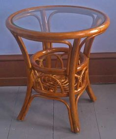 Vintage ROUND CANE & GLASS COFFEE TABLE WOVEN WICKER RATTAN Retro
