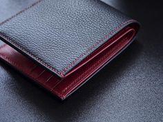7b27a798bbf5 Chevre billfold in black and crimson by eatsleepplay Lunar New, Style Men,  Leather Craft