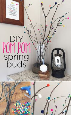 Make your own spring buds that will last forever using sticks from your yard and colorful pom poms. The combination of natural and synthetic materials makes for a very fun spring arrangement. Reggio Emilia Approach, Inspired Homes, Colorful Decor, Classroom Decor, Wood Art, Bud, Create Your Own, Interior Decorating, Spring