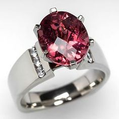 ESTATE RUBELLITE TOURMALINE COCKTAIL RING 14K WHITE GOLD