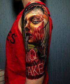 3d Tattoos, Body Art Tattoos, Sleeve Tattoos, Cool Tattoos, Bob Marley Painting, Just Ink, Colour Tattoo, Make Tattoo, Robot Concept Art