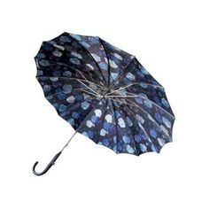 Vintage 1960s Blue Abstract Floral Parasol Umbrella ($75) ❤ liked on Polyvore featuring home, home decor, small item storage, decor, flower home decor, blue home accessories, blue home decor, blue parasol and flower stem