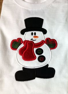 Custom Embroidered/Appliqued Christmas SNOWMAN  Onesie or T-shirt