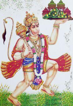 Hanuman Carrying Gandhamadan Parvat - Hindu Posters (Reprint On Metallic Paper - Unframed) Hanuman Murti, Hanuman Jayanthi, Durga, Hanuman Photos, Hanuman Images, Shiva Hindu, Shiva Art, Krishna, Hanuman Ji Wallpapers