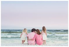 Family beach portraits wearing pink. Pastel colors. 30A, South Walton, Rosemary Beach, and Seaside FL