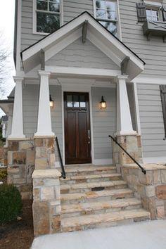 In-town Craftsman Style Home - traditional - porch - atlanta - Copperleaf Partners LLC / Copperleaf Residential Brown Garage Door, Brown Front Doors, Garage Doors, Entry Doors, Entryway, Craftsman Style Exterior, Craftsman Porch, Bungalow Exterior, Grey Siding