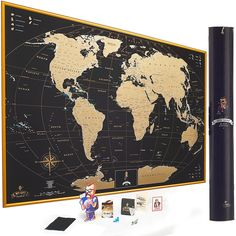Scratch off world map poster with us states and country flags mymap gold scratch off world map wall poster with us states 35x25 inches includes pins buttons and scratcher glossy finish black with vibrant colors gumiabroncs Gallery