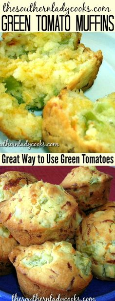 Vegetables Gardening Cheesy green tomato muffins are a great way to use up fall green tomatoes in the garden. These muffins are good with any meal. Side Dish Recipes, Veggie Recipes, Bread Recipes, Dinner Recipes, Cooking Recipes, Healthy Recipes, Green Tomato Bread Recipe, Green Tomato Recipes, Muffins