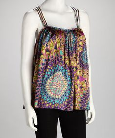 Take a look at this Purple & Teal Sunburst Crisscross Tank by Classique on #zulily today!  Originally 70 bucks now $14.99