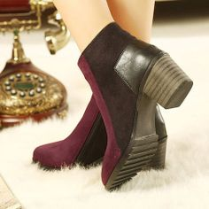 """Style: Ankle Boot  Color: Grey / Reddish Brown  Upper Material: Man-made leather  Outsole: Rubber  Heel Type: Block  Heel Height: Med (1.18""""..."""
