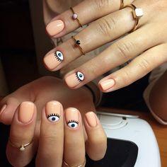 Accurate nails Apricot nails Beautiful nails 2020 Beautiful summer nails Fashion nails 2020 Gentle summer nails Light summer nails Manicure by summer dress Short Nail Designs, Best Nail Art Designs, Cute Nails, Pretty Nails, Hair And Nails, My Nails, Evil Eye Nails, Nailart Glitter, Beauty And More