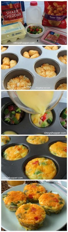 Omelet Breakfast Bites... I like this, b/c you can customize.. maybe some with peppers, others plain..
