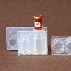 Dollhouse Miniature Jam Jar Bottle and Cap Silicone Mold