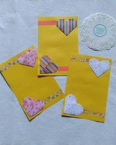 Tarjetas con corazones y detalles de washi tapes.