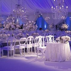 A winter wonderland scene with crystal chandeliers and beautiful white blooms that filled this custom, sheer-draped tent for added classic sparkle. Event Planning & Design: @sacks_productions | Venue: Palace of Fine Arts, SF | Decor: @revelryeventdesign |