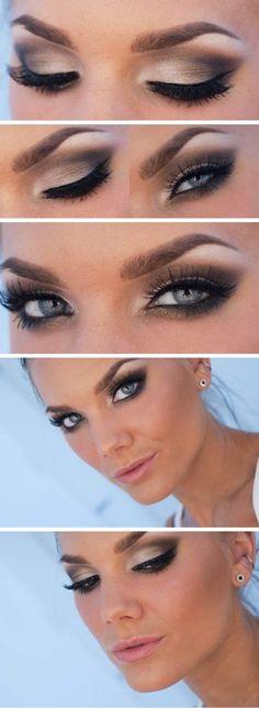 Dramático maquillaje para ojos claros, plateado. Foto: stureplan.se