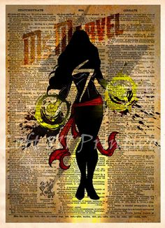 Ms Marvel pop art, Ms Marvel super hero art, captain marvel, dictionary art