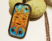 Folk Art Sun Face Handmade Art Print Pendant Bronze Finish Metal and Glass with Rolo Style Chain by Jeanne Fry