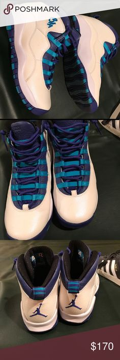 Jordan 10s Charlotte Hornets Worn only once! Nike Jordan 10s in Charlotte Hornets addition. Very clean and in excellent condition only selling because i needed a half size bigger! boys 6.5y which equals to a 7 in women's. Purple, teal, and white in color Jordan Shoes Sneakers