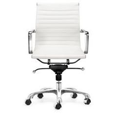 @Overstock.com.com - Chrome-plated, steel frame office chair looks as good as it worksOffice furniture features rolling base for effortless comfortWashable leatherette furniture easy to keep cleanhttp://www.overstock.com/Home-Garden/Manhattan-Adjustable-White-Office-Chair/3097390/product.html?CID=214117 $187.99 Mobiliario y Sillas de Oficina