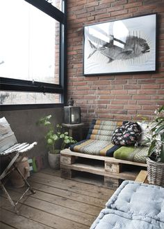 Lots of Nice Inexpensive Details - Pallets as Furniture, Thai Cushions, Fish Print