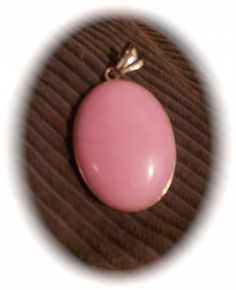 For sale at Retrophoria.com, $11.99 - Exquisite, Pink Jade Pendant, large, rare, set in silver, one of a kind