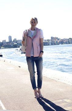 pink leather vest