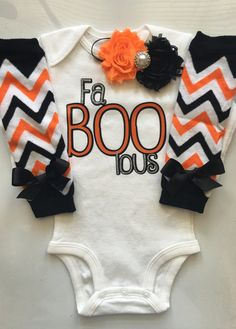 and hair bow 3pc set leg warmers The Boo Crew Halloween infant bodysuit