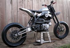 Buell motor, minimalist frame, and supermoto suspension. I like it.